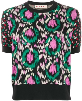 Marni jacquard textured knitted top