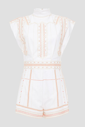 Valentino Embellished Cotton-blend Drill Playsuit