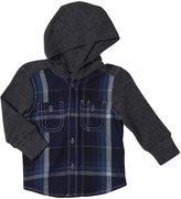 Diesel Ciokib Yarn Dyed Check Hooded Shirt (Baby)-Indigo-6 Months