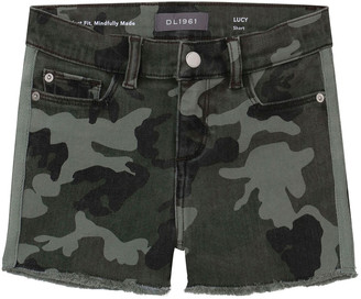 DL1961 Girl's Lucy Camo-Print Frayed Cutoff Shorts, Size 7-16