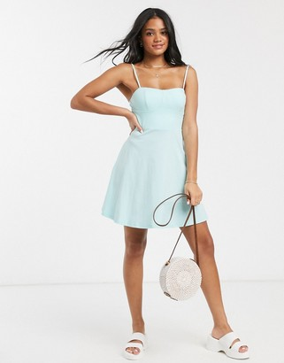 ASOS DESIGN mini square neck sundress with cup seams in mint