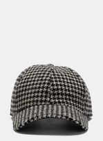 Ami Houndstooth Tweed Cap in Black and White