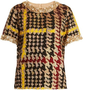 Ashish Short Sleeved Houndstooth Sequin Embellished Top - Womens - Multi
