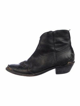 Golden Goose Leather Distressed Accents Western Boots Black