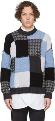 J.W.Anderson Blue and Grey Patchwork Sweater