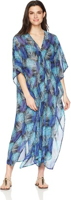 Coastal Blue Amazon Brand Women's Swimwear Maxi Caftan Cover Up