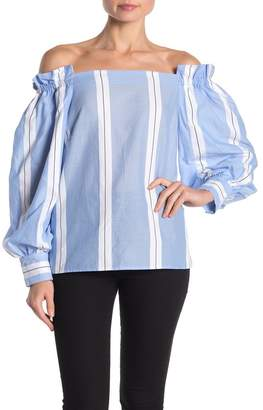 Vince Camuto Balloon Sleeve Off the Shoulder Stripe Cotton Blouse