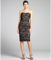 Notte by Marchesa black and nude silk lace strapless party dress