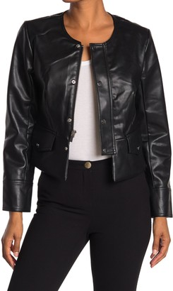 T Tahari Faux Leather Snap Button Jacket