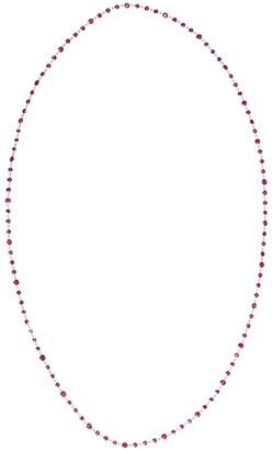 Bayco 18kt white gold round Burma rubies by the yard necklace