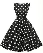 BY&M Women's Polka Dots 1950s Vintage Swing Cocktail Tea Dresses With Belt
