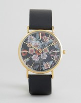 Reclaimed Vintage Inspired Floral Leather Watch In Black