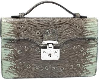 Gucci Light Green/Grey Lizard Lady Lock Flap Top Handle Bag