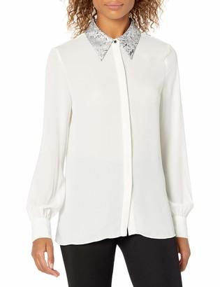 Ellen Tracy Women's Jacquard Collar Soft Shirt