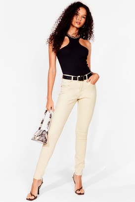 Nasty Gal Womens Button It Mid-Rise Skinny Jeans - Beige - 10