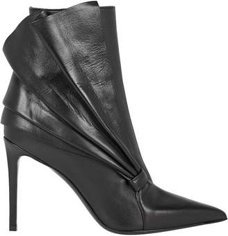 Balmain Ness Ruffled Leather Ankle Boots