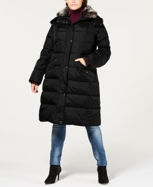 London Fog Plus Size Hooded Faux-Fur-Trim Down Puffer Coat