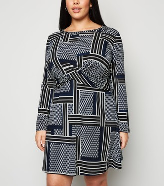 New Look Curves Patchwork Knot Dress