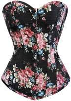Kranchungel Fashion Corset Women's Vintage Floral Denim Corset Bustier Large