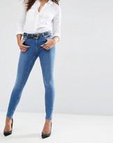 Asos Lisbon Mid Rise Skinny Jeans In Jessie Dark Stonewash