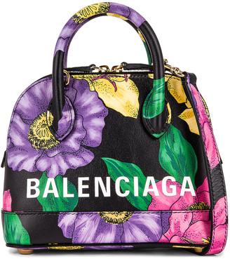Balenciaga XXS Floral Ville Top Handle Bag in Multicolor & White   FWRD