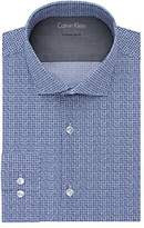 Calvin Klein Men's Stretch Xtreme Slim Fit Print Spread Collar Dress Shirt