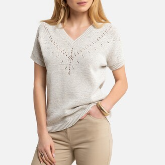 Anne Weyburn Cotton Mix Jumper in Ribbon Knit with V-Neck