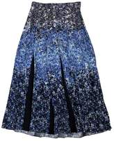 Mother of Pearl Blue Floral Silk Skirt