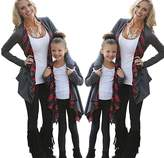 ZAWAPEMIA Mommy and Me Cardigan with Plaid Long Sleeve Open Front Sweater M Gray