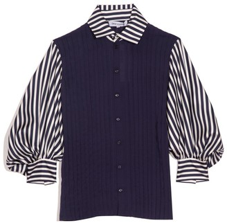Dice Kayek Striped Collared Blouse in Navy Stripe