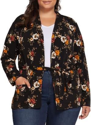 Dex Plus Floral-Print Self-Tie Jacket