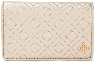 Tory Burch Fleming Quilted Metallic Leather Wallet