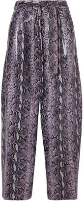 Sally LaPointe Glossed Snake-effect Leather Tapered Pants