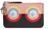 Fendi Embellished Printed Textured-leather Wallet - Black