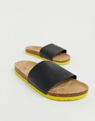 Brave Soul faux leather sliders in black