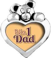 GiftJewelryShop Father's Day Theme Yellow No.1 Dad Red Siam Crystal January Birthstone I Love You Heart Care Bear Charm