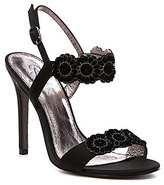Adrianna Papell Gabriella Metallic Satin Daisy Dress Sandals