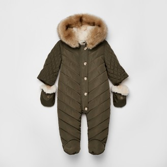 River Island Baby Khaki hooded snowsuit