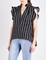 Sandro Striped ruffled woven top