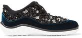 Miu Miu Velvet-trimmed Crystal-embellished Mesh Sneakers - Black
