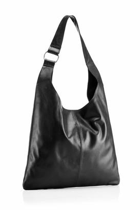Hill & How Womens Sling Shoulder Bag Shoulder Bag Black (Black Leather) 10x36x32 cm (W x H x L)