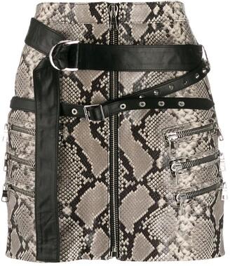 Unravel Project Snakeskin Print Mini Skirt