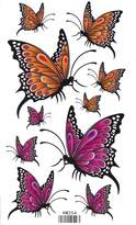 King Horse Yellow and Pink Butterflies Body Art Temporary Tattoo Sticker
