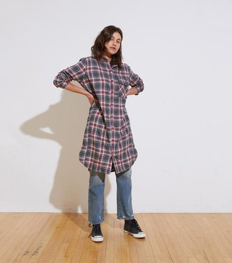 NSF The Pepper L/S Dress In Navy Red Plaid - XS