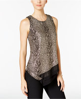 MSK Layered Metallic Animal-Print Blouse