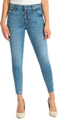 KUT from the Kloth Donna Raw Hem High Waist Ankle Skinny Jeans