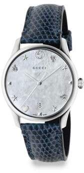 Gucci G-Timeless Stainless Steel Leather Lizard Strap Watch