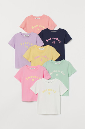 H&M 7-pack Printed T-shirts - Yellow