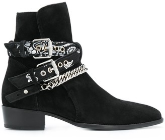 Amiri Multi-Buckle Suede Ankle Boots