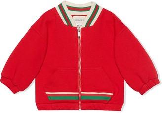 Gucci Kids Web trim zipped jacket